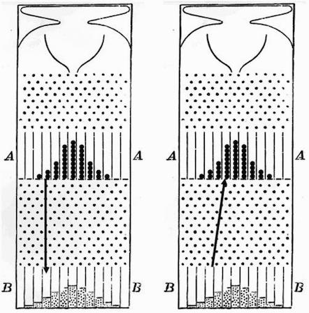 高尔顿钉版中的回归现象:左图表示上槽中弹珠在经过钉版后的平均位置,可以看到回归均值;右图表示下槽较极端位置弹珠的平均初始位置,可以看出来自不极端的部分(图片来自本书,原始文献来自 Galton 1889年发表的论文)